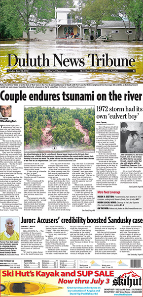 Duluth New Tribune front page featuring story on tsunami